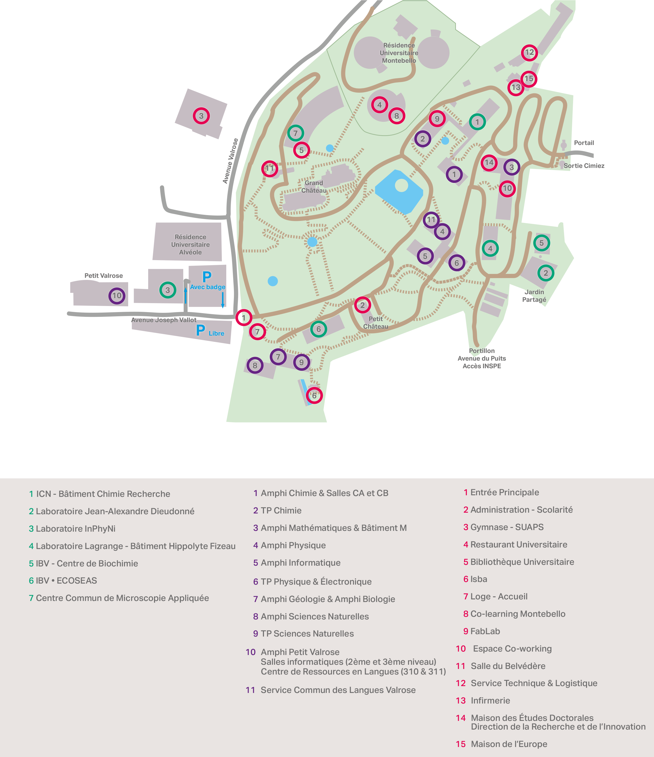 Plan campus valrose